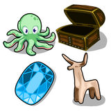 Octopus, deer, chip and chest. Vectorelements. Octopus, wooden figurine of deer, chip and chest. Four elements set on a white background. Vector illustration Vector Illustration