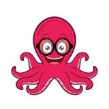 Octopus die geek glazen dragen stock illustratie