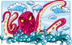 Octopus die op de hemel drijven Stock Fotografie