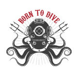 Octopus with diver helmet and two tridents. Royalty Free Stock Photo