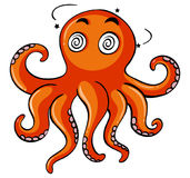 Octopus with dizzy face Royalty Free Stock Images