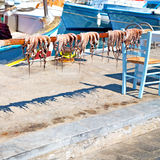 Octopus   drying  in the  europe greece santorini and light Stock Photo