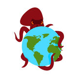 Octopus and earth. poulpe monster and planet royalty free illustration