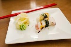 Octopus and eel nigiri Stock Images