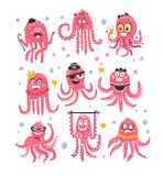Octopus Emoticon Icons With Funny Cute Cartoon Marine Animal Characters In Different Disguises At The Party Stock Image