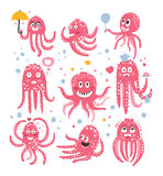 Octopus Emoticon Icons With Funny Cute Cartoon Marine Animal Characters In Love And Expressing Different Emotions Stock Photos