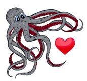 Octopus en hart Royalty-vrije Stock Foto