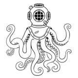Octopus en oude duikerhelm het kleuren vector Stock Afbeeldingen