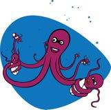 Octopus en zijn babys Royalty-vrije Stock Afbeelding