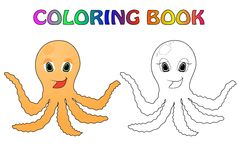 Octopus. Fanny octopus coloting book with color simple stock illustration