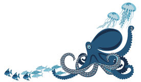 Octopus among fish. And jellyfish, vector illustration Royalty Free Stock Photos