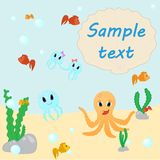 Octopus with fish. Seabed background with colorful fish and a place for an inscription on the shell vector illustration