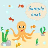 Octopus with fish. Seabed background with colorful fish and a place for an inscription on the shell royalty free illustration
