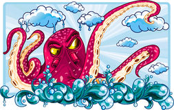Octopus floating on the sky Stock Photography