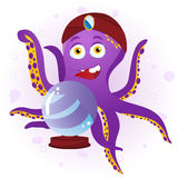 Octopus Fortune Teller. With Crystal Ball Stock Images