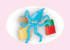 Octopus with four bags. The octopus has a lot of bags with shopping Stock Photos
