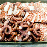 Octopus fresh raw sashimi buffet, japanese sushi Stock Photos
