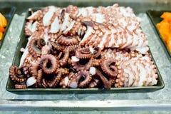 Octopus fresh raw sashimi buffet, japanese sushi. Closeup Octopus fresh raw sashimi buffet, japanese sushi Royalty Free Stock Photography