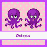 Octopus, funny characters on a pink background Stock Photography