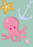 Octopus. Funny and colorful illustration symbolize good mood stock illustration