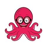 Octopus geek wearing glasses. Clipart picture of an octopus geek cartoon character wearing glasses stock illustration