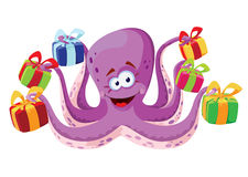 Octopus and gifts boxes. Illustration of a octopus and gifts boxes Royalty Free Stock Photography