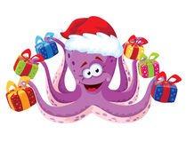 Octopus with gifts. Illustration of a octopus with gifts Stock Image