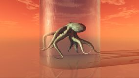 Octopus in a glass. Computer generated 3D illustration with an octopus in a glass Stock Photography