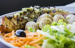Octopus grilled with vegetables Stock Photography