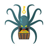 Octopus guarding pirate treasures . Gold chest kraken. Cthulhu a. Nd gold jewelry. Dreaded clam Monster keeps tentacled chest with precious stones and gold coins Stock Images