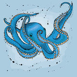 Octopus. Hand drawn  illustration in watercolor style Royalty Free Stock Photography