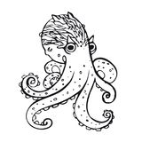 Octopus. Hand-drawn inhabitant of the underwater world. Simple linear picture octopus, element for design Stock Photography