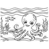 Octopus het Kleuren Pagina'svector Stock Afbeeldingen