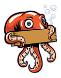 Octopus hold the sign Royalty Free Stock Photos