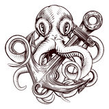 Octopus Holding Anchor. An original illustration of a tattoo of an octopus holding a ships anchor in a vintage woodblock style Stock Photos