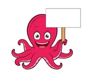 Octopus holding blank sign. Clipart picture of an octopus cartoon character holding blank sign vector illustration