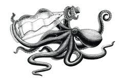 Octopus holding bottle vintage clip art. Isolated on white background royalty free illustration