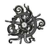 Octopus holding a helm. Tattoo style illustration Stock Images