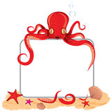 Octopus holding a sign Royalty Free Stock Photo