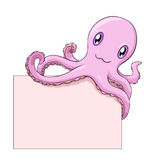 Octopus holds a blank. Pink smiling cartoon octopus holds a blank; vector illustration over white Stock Photo