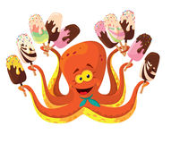 Octopus with ice cream. Illustration of a octopus with ice cream Royalty Free Stock Photo