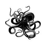 Octopus icon for sea monster tattoo design. Octopus black silhouette of sea monster. Evil kraken or giant deep water beast with curved tentacles isolated symbol stock illustration
