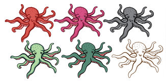 Octopus Illustration Set Stock Photos