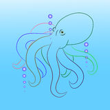 Octopus vector. Octopus illustration silhouette with blue background Royalty Free Stock Images