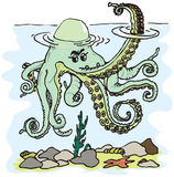 Octopus image. Figure octopus tentacles waving in the style of cartoon fun Royalty Free Stock Photos