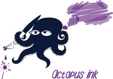 Octopus and ink Stock Image