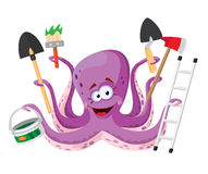 Octopus with instruments Royalty Free Stock Photos