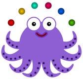 Octopus juggles. Illustration of an octopus juggling six balls Royalty Free Stock Image