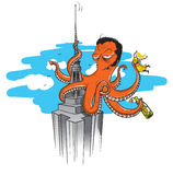 Octopus king kong. A giant octopus illustrated on a similar scene of the famous movie king kong, climbing to the empire state building, holding a girl in one of Stock Images