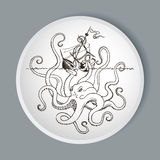 Octopus Kraken attacks the boat Royalty Free Stock Images